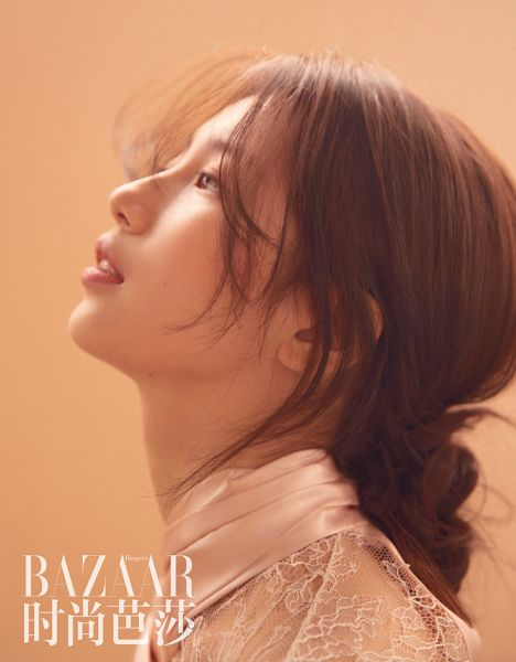 Tags: K-Pop, Miss A, Bae Suzy, Side View, Brown Background, Single Bun, Looking Up, Hair Buns, Hair Up, Magazine Scan, Harper's Bazaar China