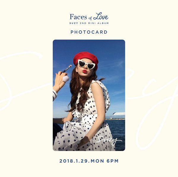 Tags: K-Pop, Bae Suzy, Text: Album Name, Sea, Red Lips, Brush, Glasses, Bare Shoulders, Hat, Red Headwear, Sunglasses, Sleeveless Dress