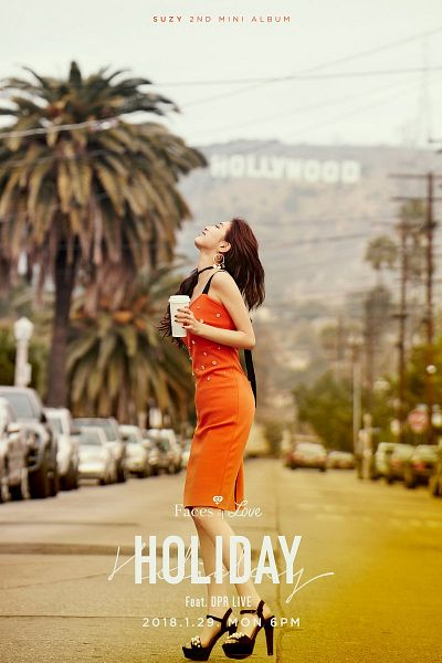 Tags: K-Pop, Bae Suzy, Tree, High Heels, Orange Outfit, Looking Up, English Text, Palm Tree, Orange Dress, Text: Song Title, Glass (Cup), Side View