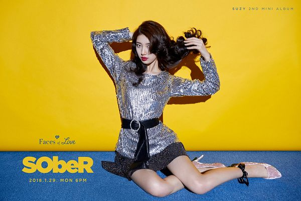 Tags: JYP Entertainment, K-Pop, Bae Suzy, Text: Song Title, Make Up, Wavy Hair, Text: Artist Name, Belt, Text: Album Name, Yellow Background, High Heels, Gray Dress