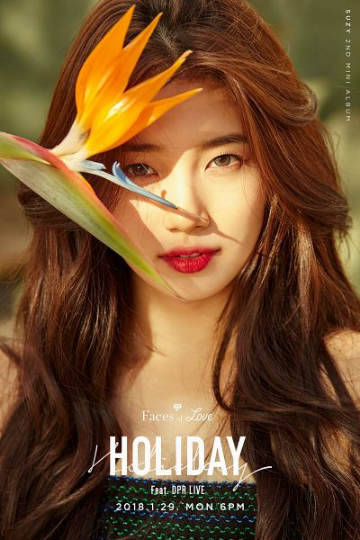 Tags: JYP Entertainment, K-Pop, Bae Suzy, Contact Lenses, Text: Artist Name, English Text, Text: Album Name, Flower, Gray Eyes, Red Lips, Text: Calendar Date, Faces Of Love