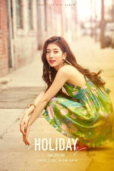 Tags: JYP Entertainment, K-Pop, Bae Suzy, Crouching, Floral Print, English Text, Green Dress, Green Outfit, Text: Artist Name, Sleeveless, Sleeveless Dress, Floral Dress