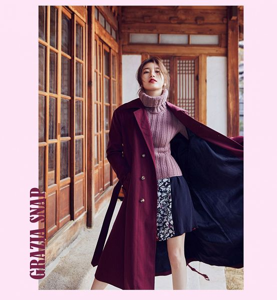 Tags: JYP Entertainment, K-Pop, Bae Suzy, Pink Shirt, Floral Print, English Text, Text: Magazine Name, Red Lips, Floral Skirt, Coat, Door, Frame