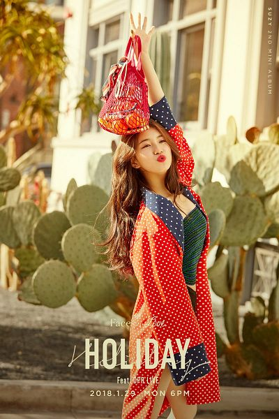Tags: JYP Entertainment, K-Pop, Bae Suzy, Green Shirt, One Arm Up, Text: Song Title, Text: Artist Name, Fruits, Red Lips, Pouting, Text: Album Name, Spotted