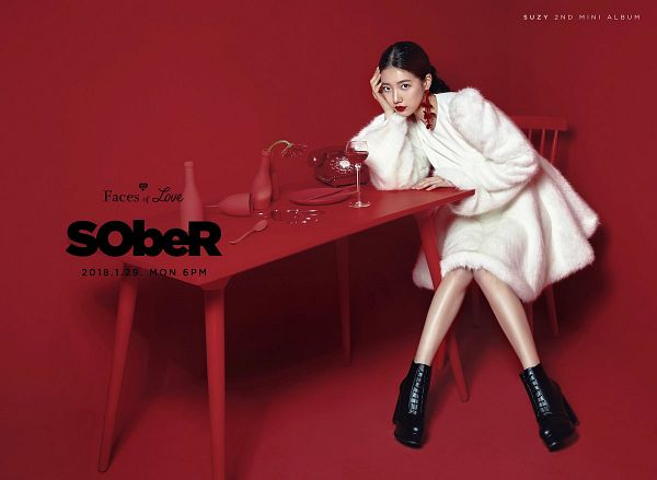 Tags: JYP Entertainment, K-Pop, Bae Suzy, Shoes, Arm Support, Table, Black Footwear, White Outfit, Bottle, Red Background, Red Lips, White Dress