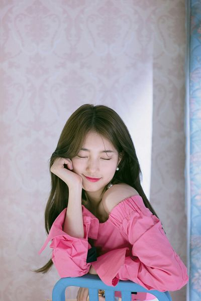 Tags: JYP Entertainment, K-Pop, Bae Suzy, Chair, Red Lips, Arm Support, Bare Shoulders, Eyes Closed, Pink Shirt, Scan, Suzy 2018 Season's Greetings