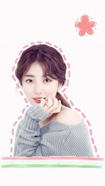 Tags: JYP Entertainment, K-Pop, Bae Suzy, Ring, Gray Shirt, Wavy Hair, Arm Support, Grin, Bare Shoulders, Didier Dubot