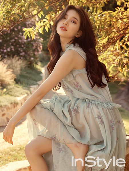 Tags: JYP Entertainment, K-Pop, Bae Suzy, Serious, Bush, Plant, See Through Clothes, Blue Dress, Blue Outfit, Magazine Scan, InStyle