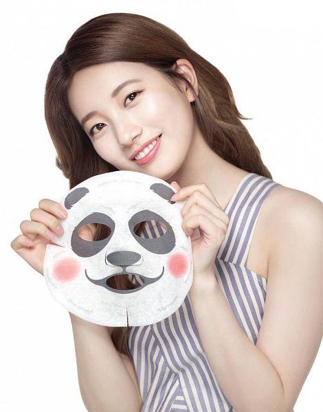 Tags: K-Pop, Bae Suzy, White Background, Face Mask, Make Up, Grin, Striped, Head Tilt, Striped Shirt, Mask, Light Background, The Face Shop