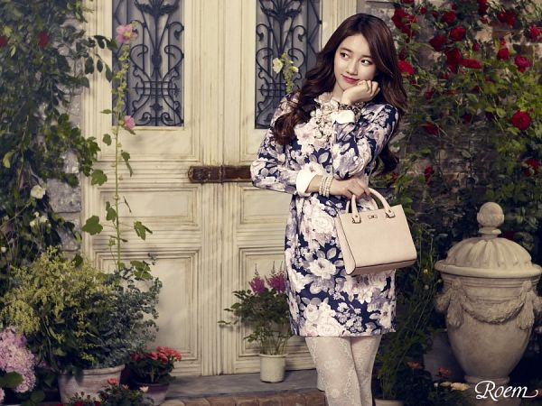 Tags: K-Pop, Bae Suzy, Pantyhose, Vase, Looking Away, Plant, Bush, Wavy Hair, Red Flower, Rose (flower), Floral Print, Necklace