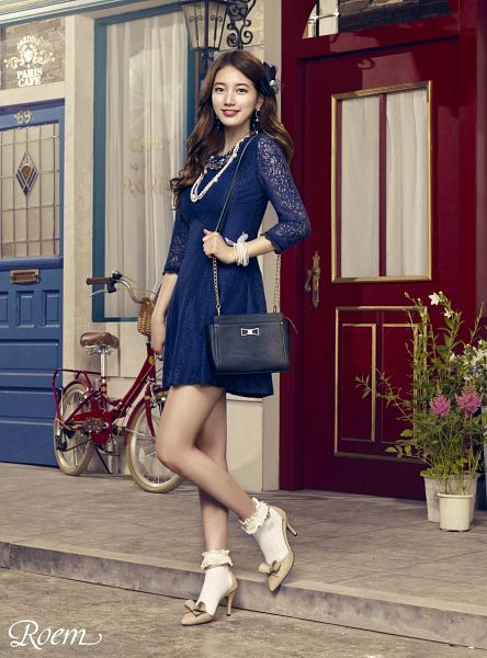 Tags: K-Pop, Bae Suzy, Bicycle, Lace, Bag, Full Body, Hair Ornament, Flower, Blue Outfit, Grin, Necklace, Door