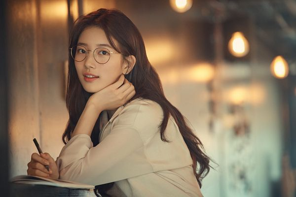 Tags: K-Pop, Bae Suzy, Arm Support, Bent Knees, Sitting, Book, Glasses, Pencil, Open Book, Carin
