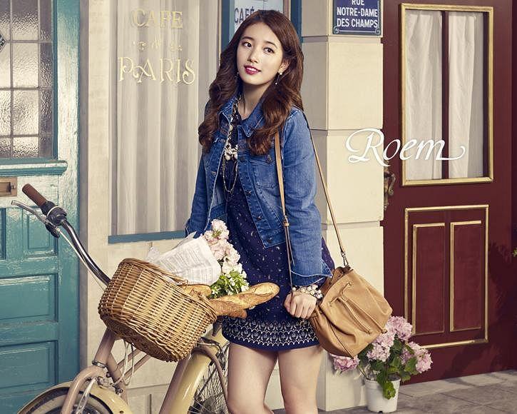 Tags: K-Pop, Bae Suzy, Flower, Blue Dress, Vase, Pink Flower, Table, Bag, Blue Flower, Denim Jacket, Blue Outfit, Purple Flower