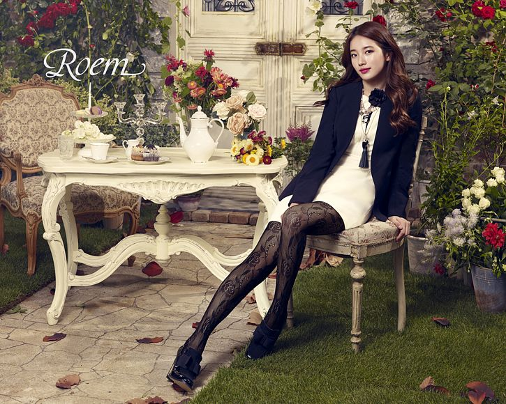 Tags: K-Pop, Bae Suzy, Blue Outerwear, Pantyhose, Sitting On Chair, Grass, Candelabrum, Chair, Black Eyes, Teacup, Flower, Red Flower