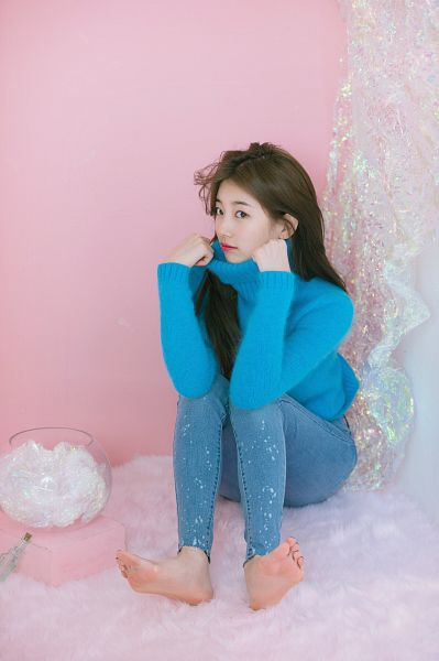 Tags: K-Pop, Bae Suzy, Barefoot, Sitting On Ground, Collar (Clothes), Wavy Hair, Turtleneck, Jeans, Blue Shirt, Pink Background, Blue Pants, Scan