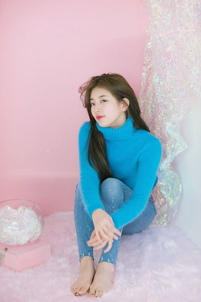 Tags: K-Pop, Bae Suzy, Wavy Hair, Turtleneck, Jeans, Blue Shirt, Pink Background, Blue Pants, Barefoot, Sitting On Ground, Collar (Clothes), Scan