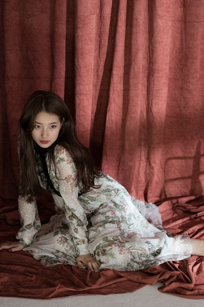Tags: K-Pop, Bae Suzy, Curtain, Sitting On Ground, Black Eyes, Floral Dress, Barefoot, Floral Print, Looking Ahead, Suzy 2018 Season's Greetings, Scan