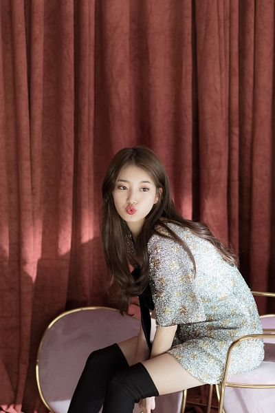 Tags: K-Pop, Bae Suzy, Black Eyes, Curtain, Blue Dress, Blue Bow, Blue Outfit, Pouting, Sitting On Chair, Floral Dress, Short Dress, Thigh Highs