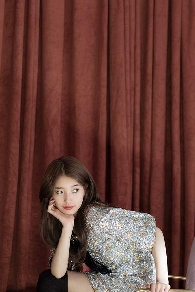 Tags: K-Pop, Bae Suzy, Short Dress, Sitting On Chair, Bow, Short Sleeves, Floral Print, Thigh Highs, Black Eyes, Curtain, Chair, Blue Dress