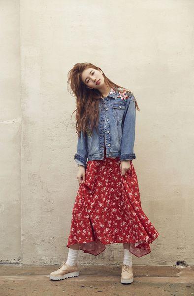 Tags: K-Pop, Bae Suzy, Red Skirt, Wall, Messy Hair, Skirt, Head Tilt, Floral Print, Floral Skirt, Denim Jacket, Guess