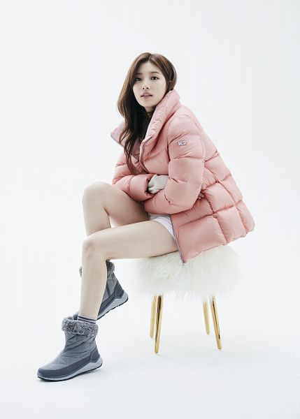 Tags: K-Pop, Bae Suzy, Chair, Serious, White Background, Stool, Sitting On Chair, Pink Outerwear, Crossed Arms, Coat, Silver Footwear, Light Background