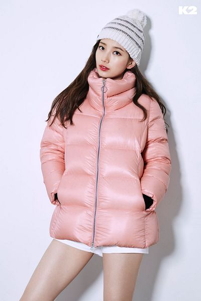 Tags: K-Pop, Bae Suzy, Shorts, Pink Outerwear, Black Eyes, Hat, Serious, White Shorts, Hand In Pocket, Red Lips, Coat, K2