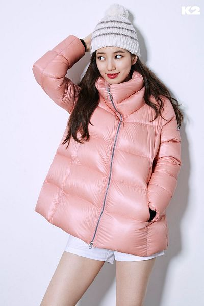 Tags: K-Pop, Bae Suzy, Black Eyes, Hat, Shadow, White Shorts, Looking Away, Red Lips, Coat, Shorts, Pink Outerwear, K2