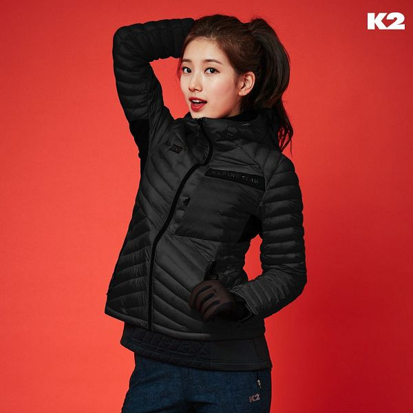 Tags: K-Pop, Bae Suzy, Gloves, Blue Pants, Red Background, Red Lips, Black Jacket, Hair Up, Black Eyes, Ponytail, K2
