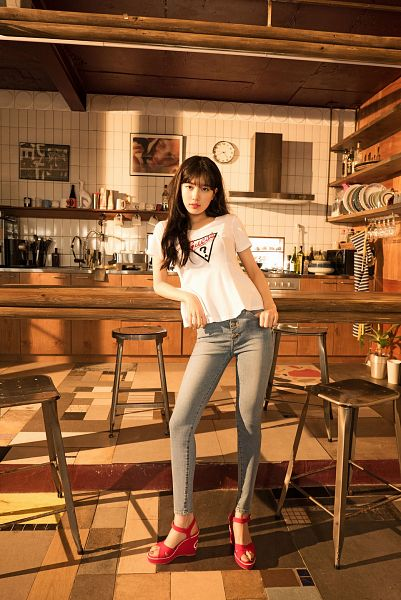 Tags: K-Pop, Bae Suzy, Black Eyes, Chair, Red Footwear, Sandals, Stool, Kitchen, Shoes, Short Sleeves, Wavy Hair, Serious