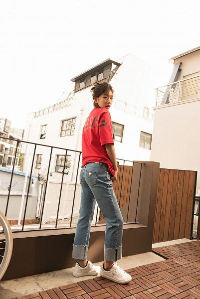 Tags: K-Pop, Bae Suzy, Single Bun, Hair Buns, Bicycle, Red Shirt, Hair Up, Gray Pants, Short Sleeves, Fence, Serious, Black Eyes