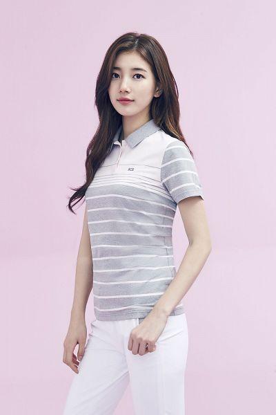 Tags: K-Pop, Bae Suzy, Wavy Hair, White Pants, Striped, Pink Background, Striped Shirt, Gray Shirt, K2