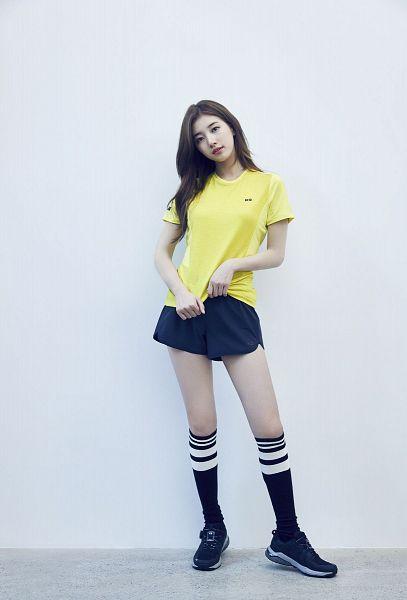 Tags: K-Pop, Bae Suzy, Blue Footwear, Light Background, Blue Shorts, White Background, Yellow Shirt, Shorts, Blue Legwear, K2