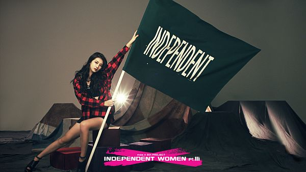 Tags: K-Pop, Miss A, I Don't Need a Man, Bae Suzy, Gray Background, Checkered, Text: Song Title, Red Jacket, Flag, Full Body, Black Footwear, Checkered Jacket