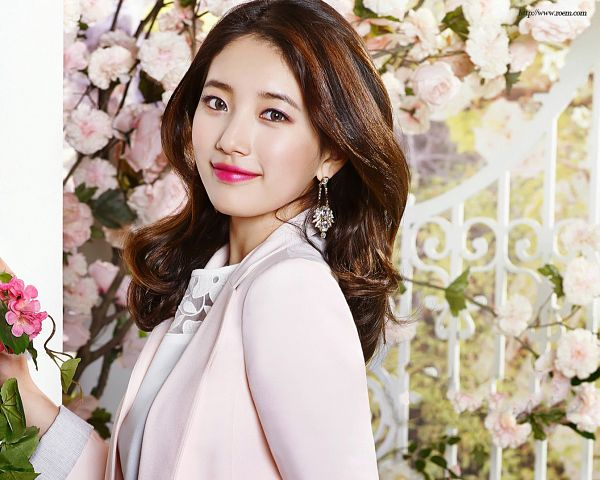 Tags: K-Pop, Miss A, Bae Suzy, Pink Flower, Flower, Closed Mouth, Red Lips, Jacket, Pink Outerwear, Coat, Earrings, Pink Jacket