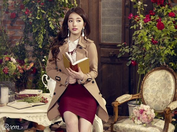 Tags: K-Pop, Miss A, Bae Suzy, Book, Red Skirt, Coat, Spotted Shirt, Open Book, Wavy Hair, Serious, Make Up, Spotted