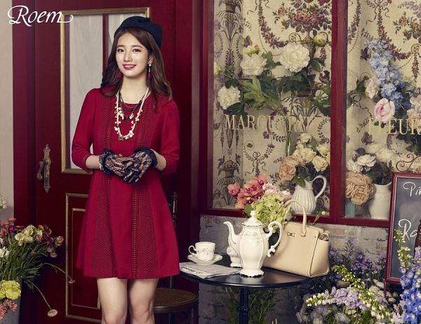 Tags: K-Pop, Miss A, Bae Suzy, Table, Red Outfit, Gloves, Cup, Chalkboard, Hat, Door, Make Up, Teapot