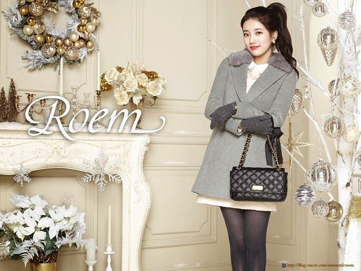 Tags: K-Pop, Miss A, Bae Suzy, Fireplace, Gloves, Bag, Gray Outerwear, Flower, Pantyhose, Hair Up, Gray Legwear, Ponytail