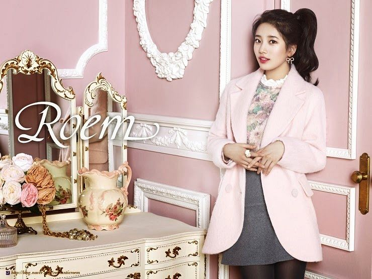 Tags: K-Pop, Miss A, Bae Suzy, Vase, Hair Up, Pink Outerwear, Skirt, Brown Legwear, Ponytail, Flower, Make Up, Glass