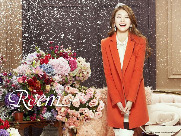 Tags: K-Pop, Miss A, Bae Suzy, Coat, Make Up, Snow, Red Flower, Pink Flower, Orange Outerwear, Flower, Pantyhose, Purple Flower