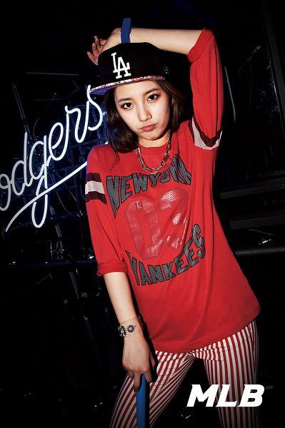 Tags: K-Pop, Miss A, Bae Suzy, Hat, Hand On Head, Pouting, Striped Pants, Bracelet, Red Pants, Baseball, Black Background, Baseball Jersey