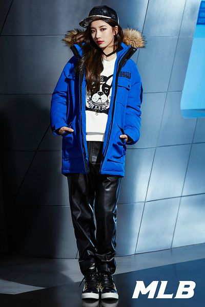 Tags: K-Pop, Miss A, Bae Suzy, Necklace, Blue Jacket, Leather Pants, Black Pants, Black Headwear, Boots, Gray Background, Full Body, Blue Outerwear