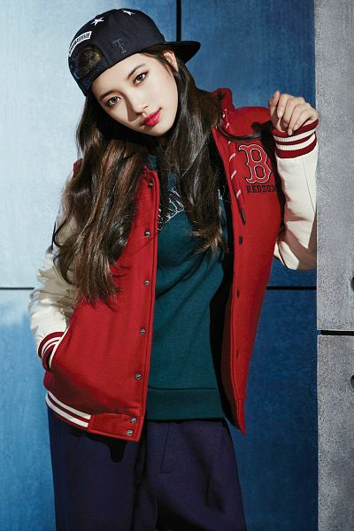 Tags: K-Pop, Miss A, Bae Suzy, Black Headwear, Black Pants, Red Jacket, Hand In Pocket, Hat, Red Outerwear, MLB, Android/iPhone Wallpaper