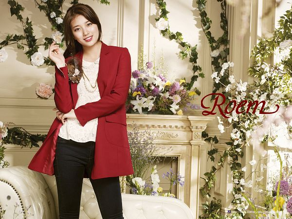 Tags: K-Pop, Miss A, Bae Suzy, Black Pants, Fireplace, Coat, Red Outerwear, Text: Brand Name, Red Jacket, Wallpaper, Roem