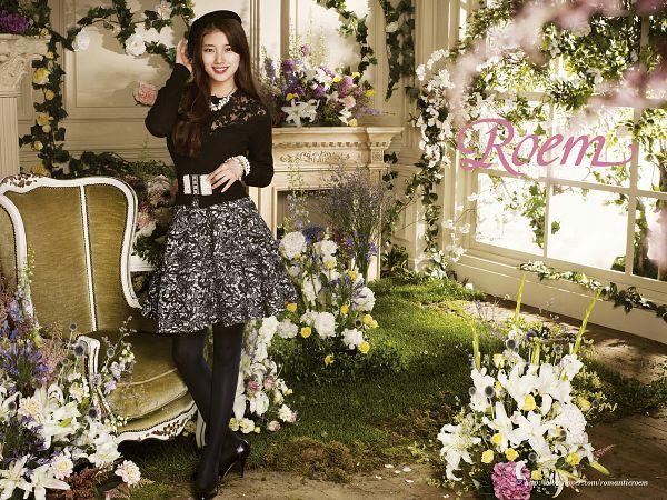 Tags: K-Pop, Miss A, Bae Suzy, Chair, Armchair, Floral Skirt, Flower, Pantyhose, Grass, Grin, White Flower, Black Headwear