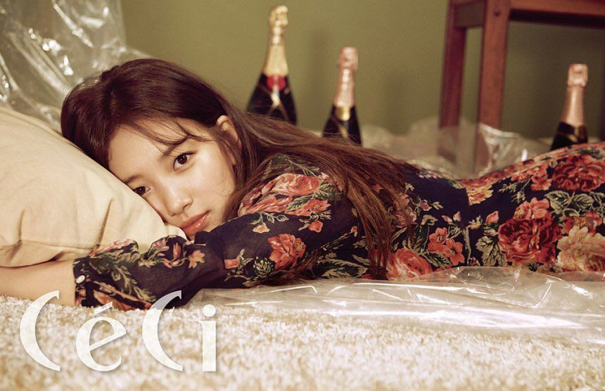 Tags: K-Pop, Miss A, Bae Suzy, On Bed, Bottle, Laying On Stomach, Wine, Pillow, Floral Dress, Alcohol, Laying Down, Bed