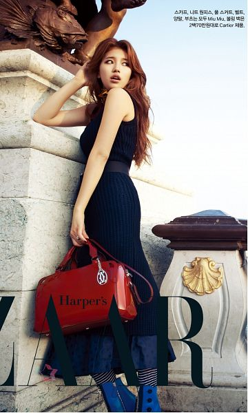 Tags: K-Pop, Miss A, Bae Suzy, Blue Dress, Bag, Wavy Hair, Statue, Blue Outfit, Harper's Bazaar, Android/iPhone Wallpaper, Magazine Scan