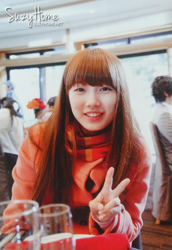 Tags: K-Drama, K-Pop, Miss A, Bae Suzy, Coat, V Gesture, Cup, Blunt Bangs, Glass (Cup), Scarf, Grin, Dream High