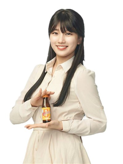 Tags: K-Pop, Miss A, Bae Suzy, Bottle, White Outfit, Light Background, White Background, Black Eyes, Grin, White Dress, Vita 500