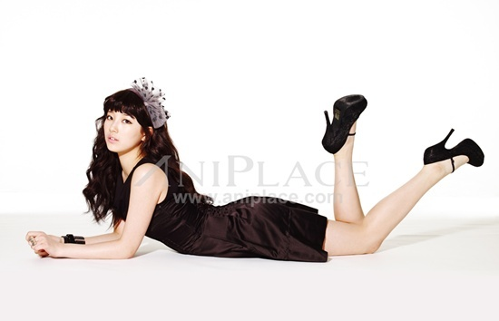 Tags: K-Pop, Miss A, Bae Suzy, Light Background, Brown Outfit, Make Up, White Background, Brown Dress, Black Eyes, Laying Down, Black Footwear, High Heels
