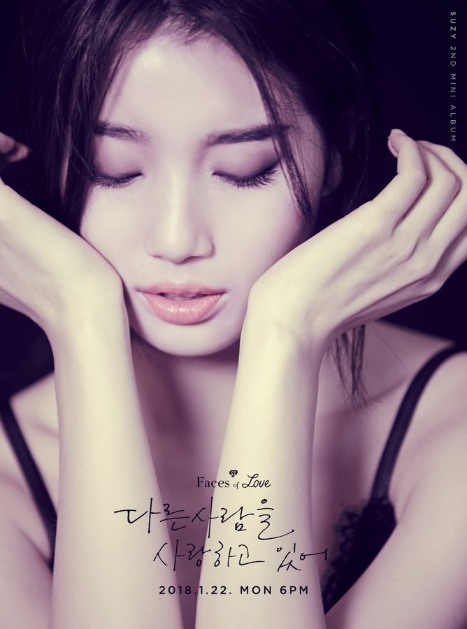 Tags: K-Pop, Bae Suzy, Text: Song Title, Blue Background, Eyes Closed, Arm Support, Hand On Head, English Text, Korean Text, Hand On Cheek, Faces Of Love